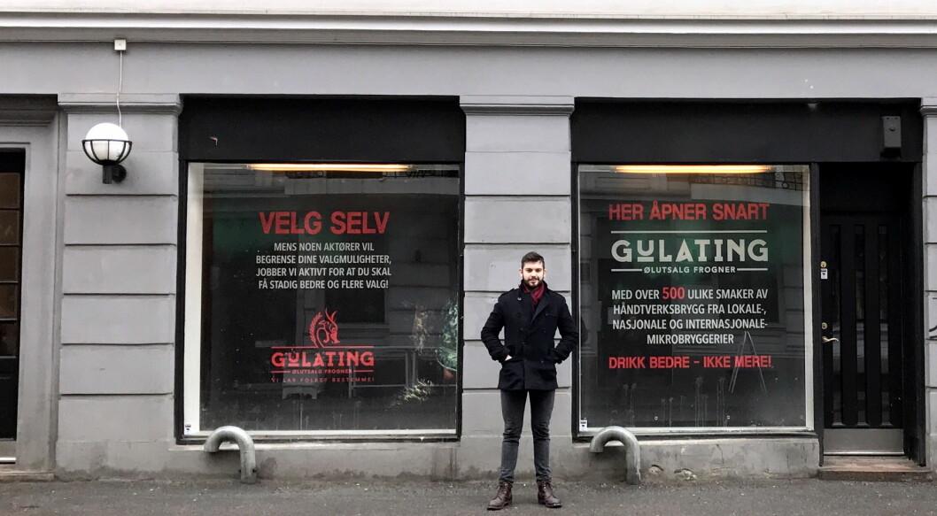 Simon Larsen som er ansvarlig for det nye Gulating-ølutsalget på Frogner, som åpner torsdag 16. mars.