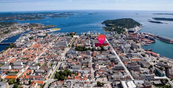 Bildet viser hvor Kvartal 32 ligger i Kristiansand.