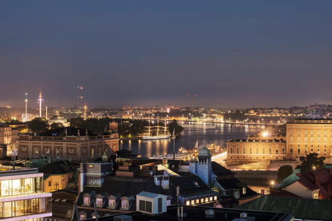 Utsikt utover Stockholm fra den nye restauranten Tak - i regi Petter A. Stordalen. (Foto: Nordic Choice Hotels)