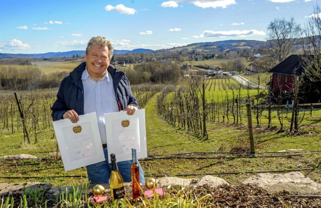 Marius Egge og Egge Gård hovet inn priser på den tyske sidermessen «Apfelwein Weltweit» . (Foto: Arkiv)