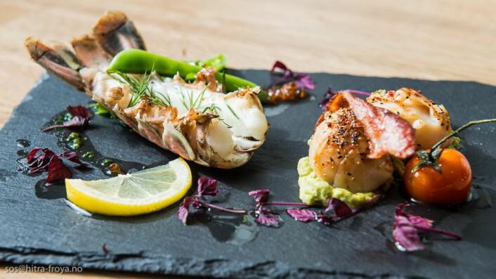 Sjømat utgjør naturlig nok en stor del av menyen på Hotell Frøya. (Foto: Hotell Frøya)