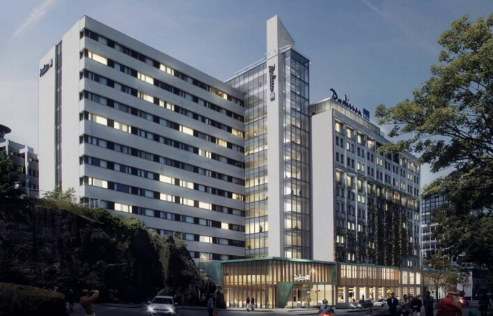 Skisse av «nye» Radisson Blu Atlantic Hotel i Stavanger.