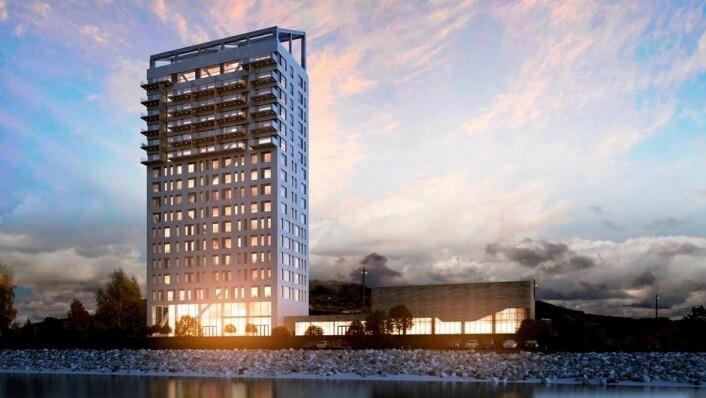 <br />Hotellet i Mjøstårnet får navnet Wood Hotel. (Illustrasjon: DNB Eiendom)<br />&nbsp;