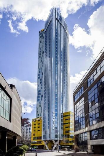 Det nye Novotel i Canary Wharf, i Londons Dockland-område.