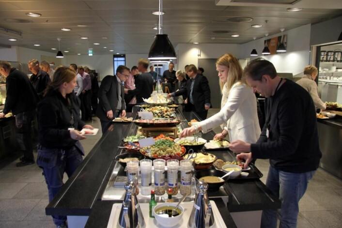 Telenors kantine Soup & Sandwich i regi ISS på Fornebu. (Foto: Morten Holt)