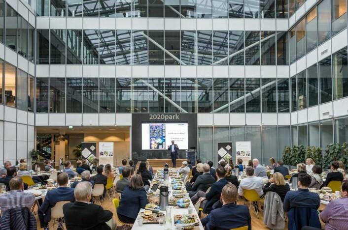 Karl Eirik Schjøtt-Pedersen deltok på Compass Groups halvårlige kundeseminar på 2020Park i Stavanger. (Foto: Markus Johansson, Bitmap Multivisuals AS).