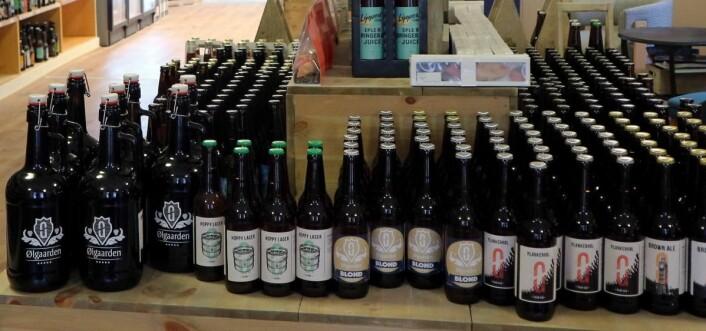 Noen av Ølgaardens egne øl. (Foto: Heidi Fjelland)