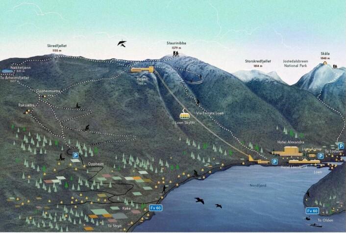 Kartet viser området og pendelbanens beliggenhet i Loen. (Illustrasjon: Loen Skylift)