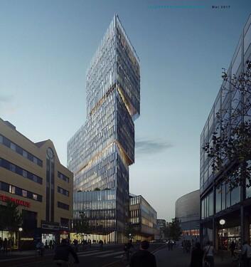 Slik kan det nye Thon-hotellet se ut, hvis Olav Thon Gruppen får det slik de ønsker. (Illustrasjon: White arkitekter)