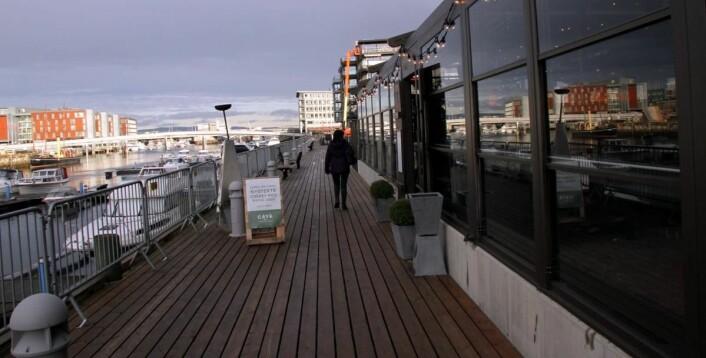 Lokalene ligger ved i Adressa-bygget (til høyre i bildet), ikke langt fra Scandic Nidelven (til venstre i bildet). (Foto: Morten Holt)