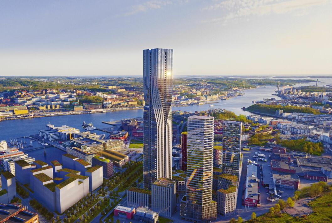 Karlatornet i Göteborg skal stå ferdig i 2021. Da vil det også huse et Clarion-hotell. (Illustrasjon: Nordic Choice Hotels)