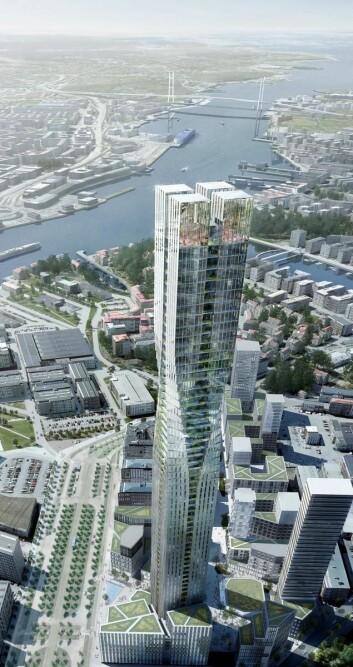 Karlatornet blir en kvart kilometer høyt. (Illustrasjon: Nordic Choice Hotels)