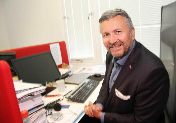 Svein Arild Steen-Mevold på sitt Scandic-kontor. (Foto: Morten Holt)