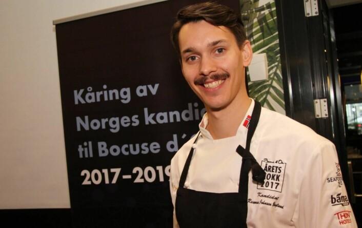 Rasmus Johnsen Skoglund vant Arktisk kokk i 2012, men er nok den mest ukjente blant de fem finalistene i Årets kokk 2017. Han er én av tre deltakere fra Bodø. (Foto: Morten Holt)
