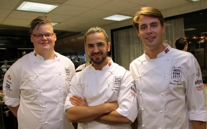 Filip August Bendi sammen med sin coach Adrian Løvold (til høyre) og commis Håvard André Josdal Østebø (til venstre). (Foto: Morten Holt)