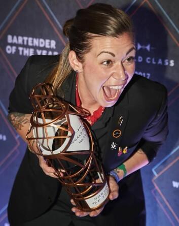 En glad Kaitlyn Stewart etter at seieren var sikret. (Foto: World Class)
