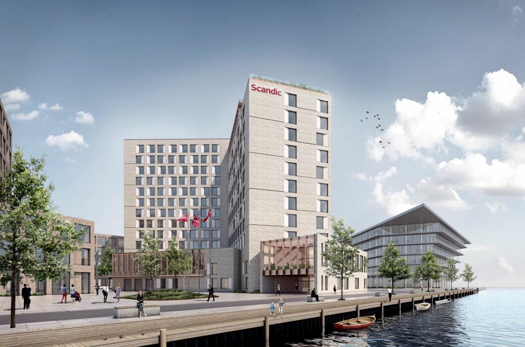 Scandic vokser stadig i Danmark. I 2020 åpner Scandic Copenhagen Airport. (Illustrasjon: Scandic Hotels)