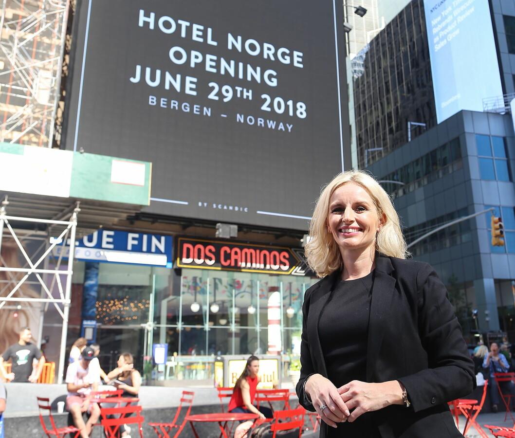 Hotelldirektør for Hotel Norge by Scandic, Lise Solheim Haukedal, på plass i New York. (Foto: Scandic Hotels)