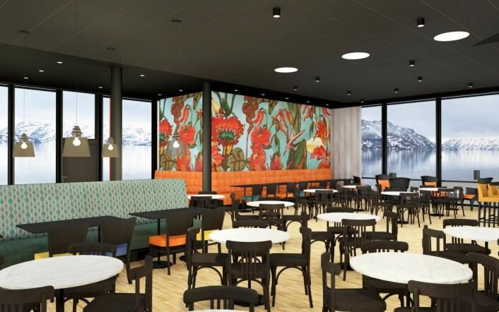 Thon Hotel Kirkenes skal gjennomgå en omfattende oppgradering med ny design i spisesal og frokostsal, og får også ny barløsning og nytt kjøkken. (Illustrasjon: Ramsøskar Interiørarkitekter AS)