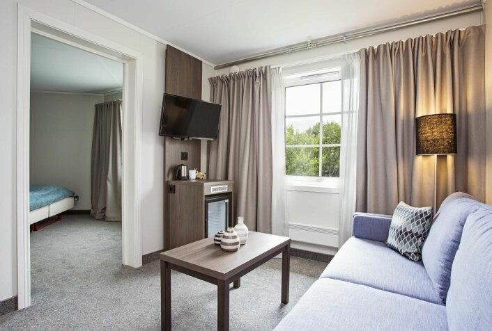 Fra ett av rommene på Lofoten Hotell, som nå blir Scandic-hotell. (Foto: Lofoten Hotell)