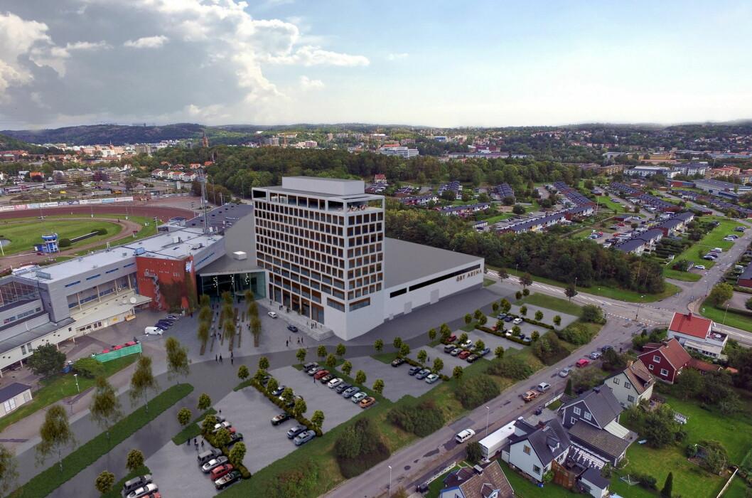 Våren 2019 åpner HKC Hotels sitt nye flaggskipshotell Åby Arena. (Illustrasjon: Best Western)