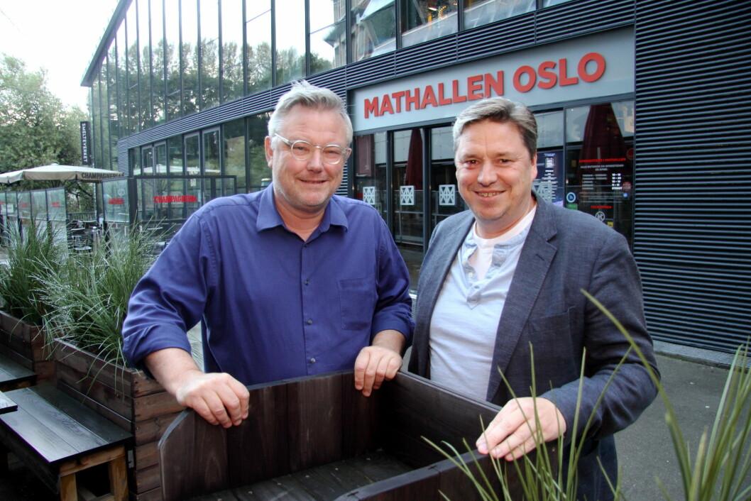 Sverre Landmark (til venstre) og Frode Rønne Malmo kan se tilbake på fem gode år med Mathallen. (Foto: Morten Holt)