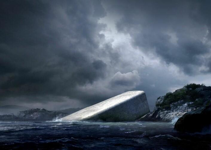 Restaurant Under skal stå ferdig i 2019. Den blir formet som en undervannskikkert. (Illustrasjon: MIR/Snøhetta)