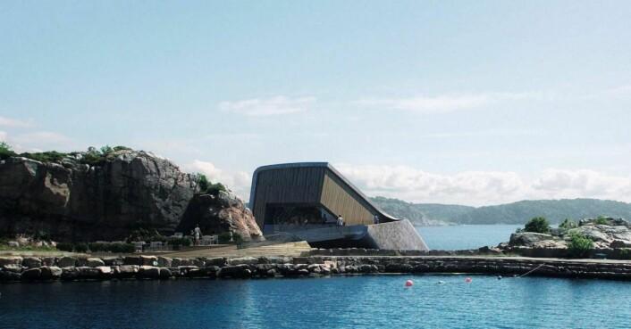 Slik blir restaurant Under seende ut fra Lindesnes Havhotell. (Illustrasjon: MIR/Snøhetta)