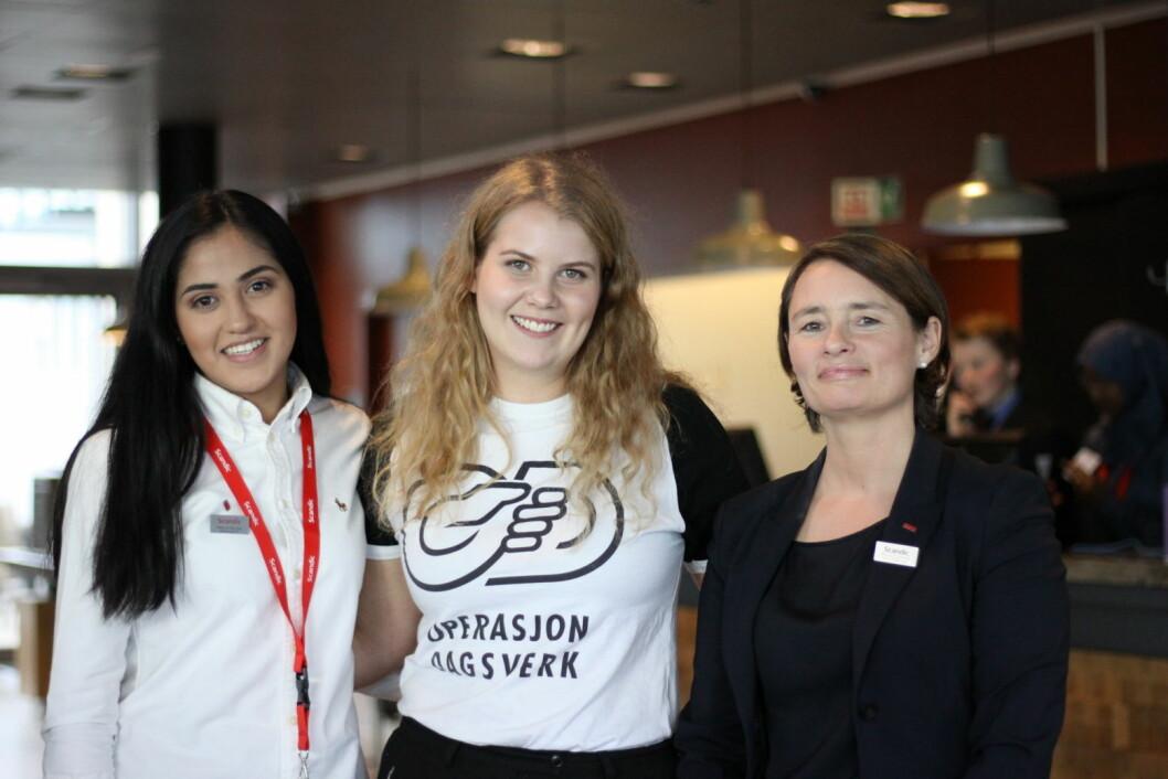 Stephanie Rivera, Operasjon Dagsverks Sandra Skiaker, og hotelldirektør på Scandic Vulkan, Monica Egeberg. (Foto: Marianne Wennesland – Scandic)