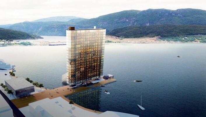 Hotellet blir liggende på en pir ut i fjorden. (Illustrasjon: Snøhetta)
