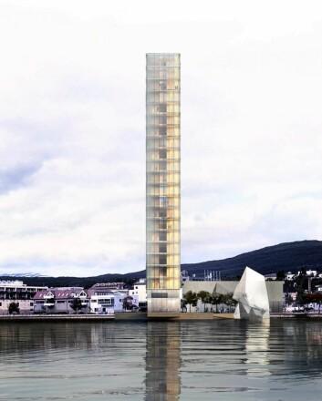 Det planlagte Fauske-hotellet vil rage 76 meter opp i lufta, og blir et markant landemerke. (Illustrasjon: Snøhetta)