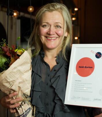 Matprisen til Heidi Bjerkan. (Foto: Joachim Sollerman)