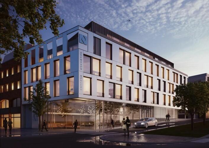 Nybygget i gågata på Bragernes i Drammen, som er 3000 kvadratmeter fordelt på fem etasjer, skal stå ferdig 1. mai neste år. (Illustrasjon: Arkitekt Nils Tveit AS)
