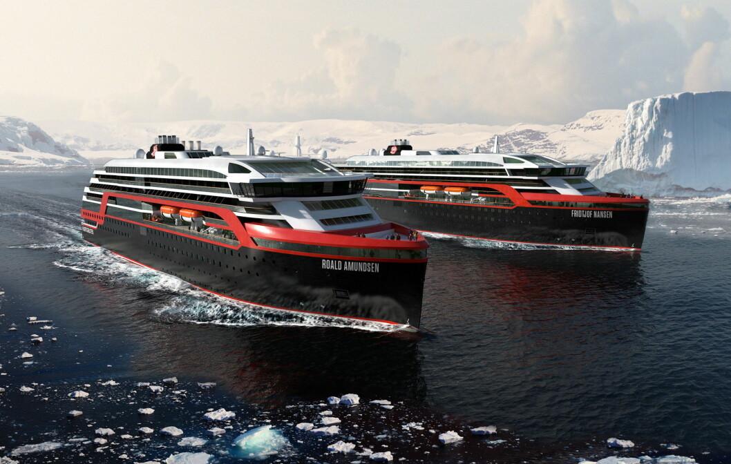 Hybridskipene MS Roald Amundsen og MS Fritjof Nansen skal seile norskekysten sommeren 2019. (Illustrasjon: Hurtigruten)