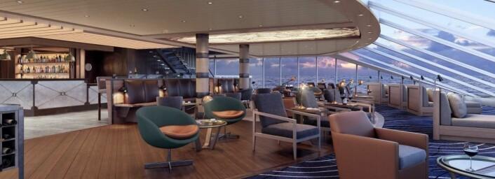 Skisse av Explorer Lounge. (Illustrasjon: Hurtigruten)