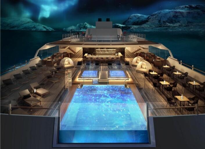 Skisse av bassengområdet på de nye hybridskipene til Hurtigruten. (Illustrasjon: Hurtigruten)