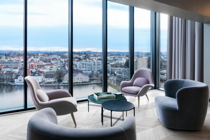 Utsikt fra ett av gjesterommene hos Radisson Blu Atlantic Hotel, Stavanger. (Foto: Lisa Löwenborg)