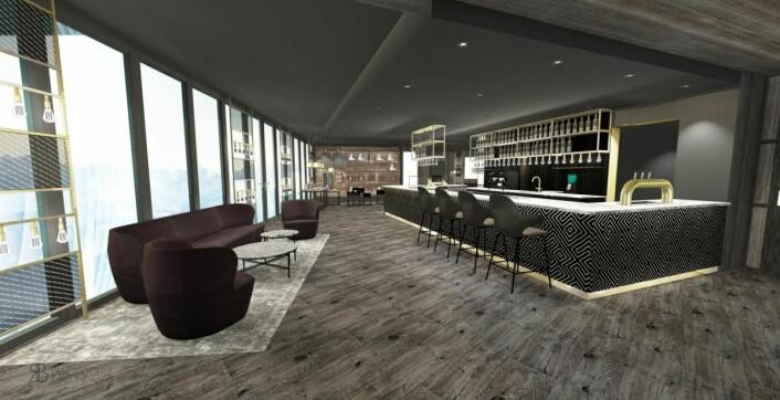 Fra baren i nye Funken Lodge. (Illustrasjon: Nordic Hotels & Resorts)