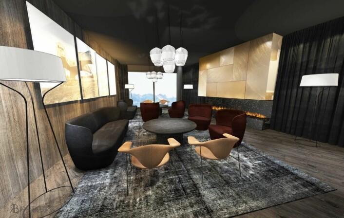 Fra loungen i nye Funken Lodge. (Illustrasjon: Nordic Hotels & Resorts)