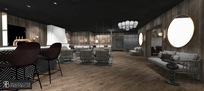 Fra peisestua i nye Funken Lodge. (Illustrasjon: Nordic Hotels & Resorts)