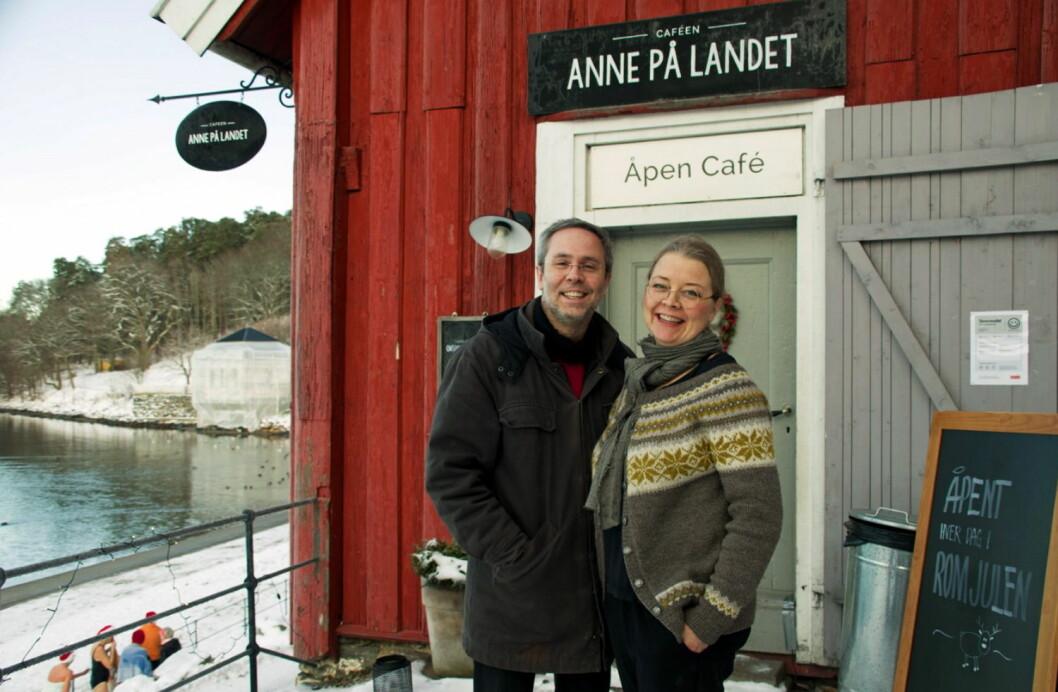 De er klare for å utvide fra landet til by'n. Bendik Romstad og Anne Gravingen åpner på gamle Frognerparken Café rundt 1. mai. (Foto: Georg Mathisen)