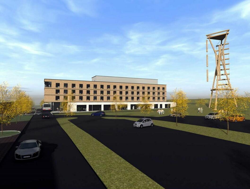 Skisse av det nye hotellet, som skal stå ferdig på Brennemoen/Slitu i oktober 2018. Marit Bjørnland er ansatt som hotelldirektør. (Illustrasjon: Lorentz Kielland Arkitekter)