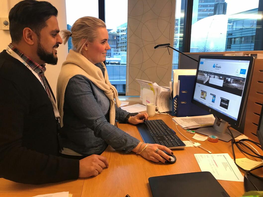 Nasjonal salgsleder Javvad Latif og innkjøpskonsulent på netthandel Benedicte Granum i NHO Reiseliv Innkjøpskjeden. (Foto: NHO Reiseliv)