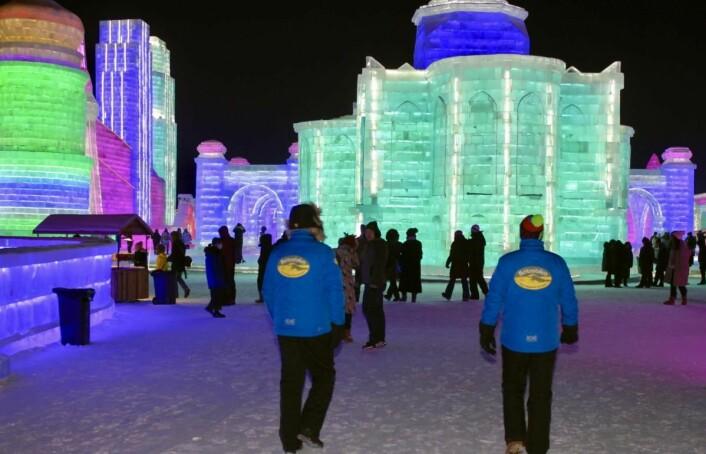 Is-skulptur-parken i Harbin er gigantisk, og det er også alle bygninger, installasjoner og kunstverk, som alle er i is. (Foto: DestinasjonsKirurgene)