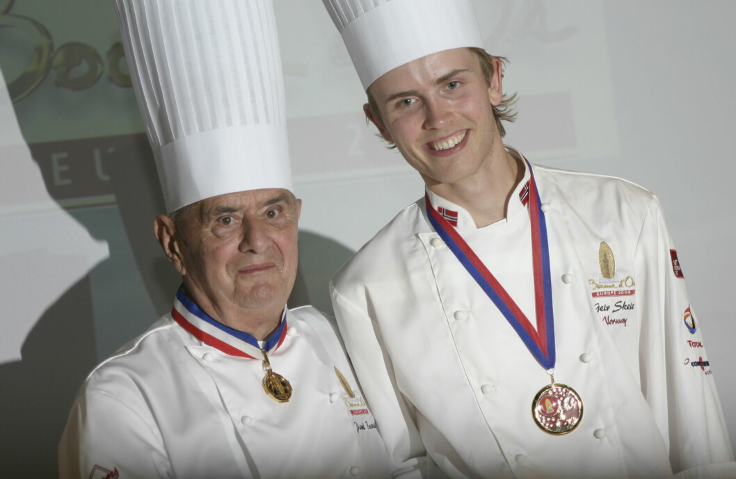 Paul Bocuse sammen med Geir Skeie, som vant Bocuse d'Or Europe i 2008 og Bocuse d'Or i 2009. (Foto: Morten Holt)