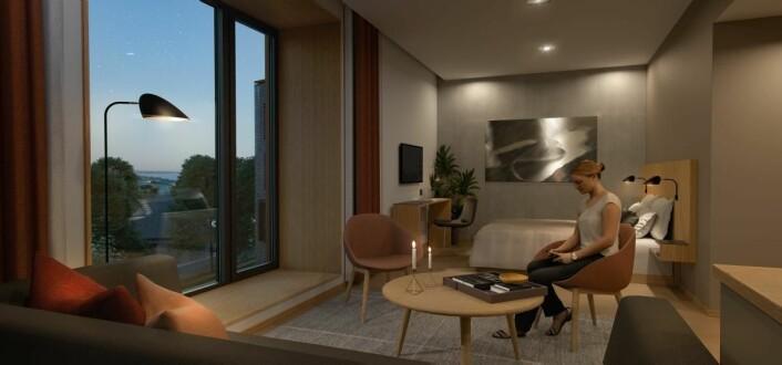 Ett av rommene på Ydalir Hotel. (Illustrasjon: Ydalir Hotel)