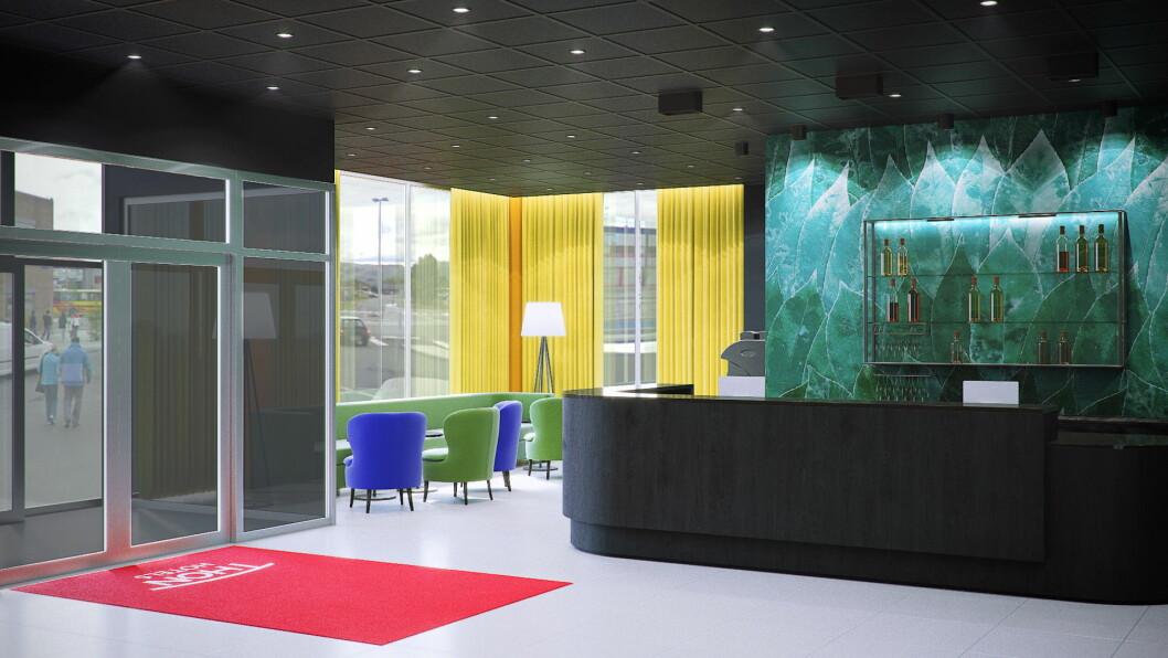– Hotellet vårt får ny resepsjon med et moderne lobbyområde hvor gjester kan hygge seg. Vi er også glad for å kunne tilby gjester frokost, lunsj og middag i vår nye restaurant i 1. etasje, sier hotelldirektør Linda Heltne. (Illustrasjon: Thon Hotels)