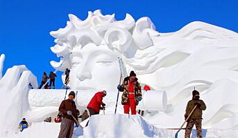Bygger gedigen isskulptur på Beitostølen