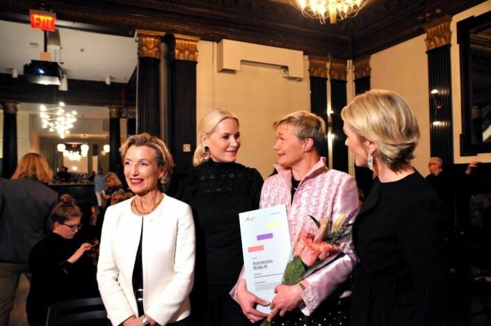 Generalkonsul Harriet Berg (fra venstre), HKH Kronprinsesse Mette-Marit, årets «Female Entrepreneur» Grete Sønsteby, og administrerende direktør i Innovasjon Norge Anita Krohn Traaseth. (Foto: Arne Vatnøy/Innovasjon Norge)