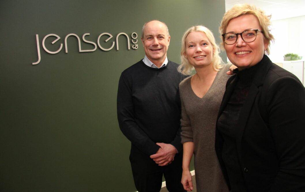Thor Morten Jacobsen, Christine Bugge Jensen og Sissel Bjørk Dahl hos Jensen & Co. (Foto: Morten Holt)